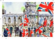 Vintage Northern Ireland poster - City Hall, Flag protests